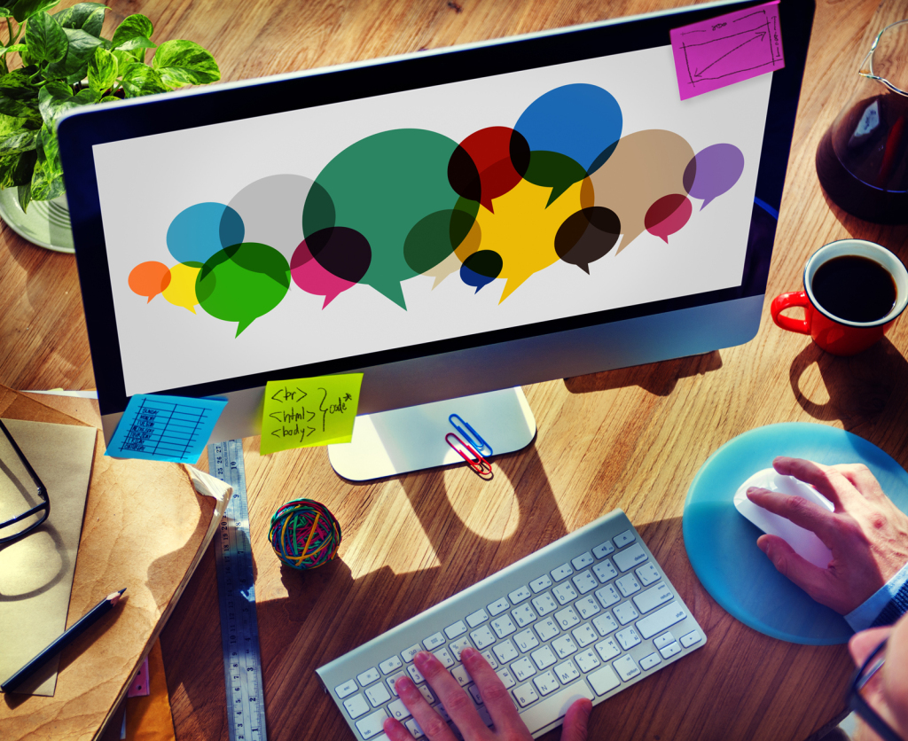 Businessman Searching Speech Bubbles Communication Concept